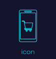 turquoise mobile phone and shopping cart line icon vector image vector image