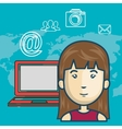 woman avatar with laptop computer vector image vector image