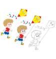 Boy with a kite vector image