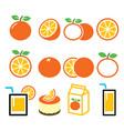 orange icons set - food nature concept design vector image
