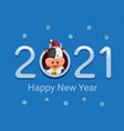 2021 new year and christmas with cow winter season vector image vector image