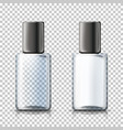 3d realistic transparent bottles plaid bg vector image vector image
