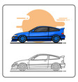 80s blue car side view easy editable