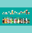 alcohol drinks collection bottles with glasses vector image vector image