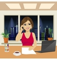 beautiful woman in office talking on phone vector image vector image