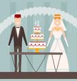 bride and groom flat style wedding figures vector image