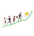 buisiness people running to bitcoin currency vector image vector image
