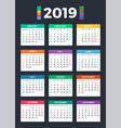 Calendar for 2019 on dark