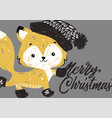 christmas poster with fox vector image vector image