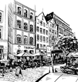City hand drawn Cafe sketch vector image