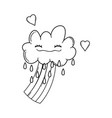 cloud and rainbow cute cartoon in black and white vector image vector image