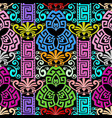 colorful floral greek key meanders seamless vector image vector image