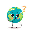confused earth character with question mark vector image