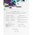 creative simple cv template with triangle shapes vector image vector image