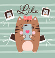 cute cat makes selfie funny vector image