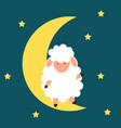 cute little sheep on the night sky good night vector image vector image