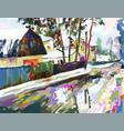 digital painting artwork of village winter vector image vector image