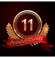 Eleven years anniversary celebration with golden vector image vector image