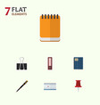 flat icon tool set of nib pen notepaper paper vector image vector image