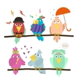 Funny emoticon birds sitting on a branch vector image vector image