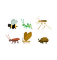 geometric insects set bee grasshopper mosquito vector image