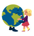 girl dancing with globe earth planet character vector image