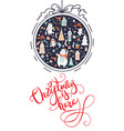 greeting card christmas card navy with christmas vector image vector image