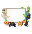 halloween sign with mummy and frankenstein vector image vector image