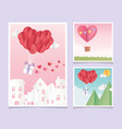 happy valentines day origami paper balloons heart vector image