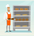 happy young baker holding a tray with bread vector image vector image