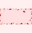 heart frame isolated pink background red hearts vector image vector image
