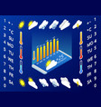 isometric set of weather application design vector image