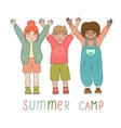 Joyful children in a summer camp logo vector image vector image