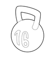Kettlebell icon outline style vector image