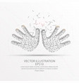 kid hands low poly wire frame on white background vector image vector image