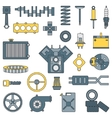 Line flat color icon car parts set with vector image