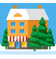 living building front exterior house in winter vector image vector image