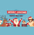 merry christmas and happy new year poster with vector image vector image