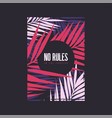 no rules in tropics graphic summer t-shirt vector image vector image