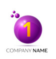 number one splash logo purple dots and bubbles vector image vector image