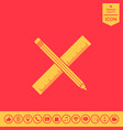 pencil and ruler icon vector image vector image