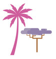 pink palm and violet exotic tree isolated on white vector image vector image