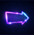 realistic neon arrow sign on brick wall vector image vector image