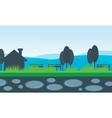 scenery house and mountain backgrounds vector image vector image