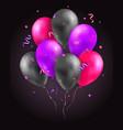 set glossy air 3d flying balloons ribbons and vector image