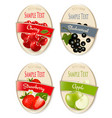 set labels berries and fruit strawberry vector image vector image