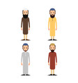 set muslim man or arab man stand in the vector image