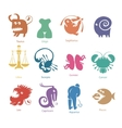 set of funny zodiac signs vector image vector image