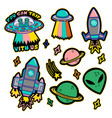 set stickers or patches on space topic vector image vector image