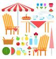 set summer picnic flat vector image